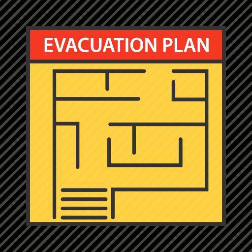 emergency, escape, evacuate, evacuation, exit, firefighting, plan icon