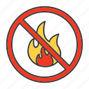 bonfire, burning, fire, flame, forbidden, no, prohibition icon