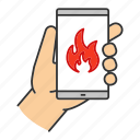 call, emergency, fire, firefighting, help, phone, smartphone icon