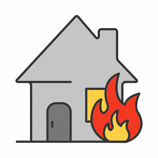 accident, burning, emergency, fire, firefighting, home, house icon