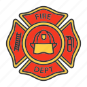 badge, department, emblem, fire, firefighter, fireman, label