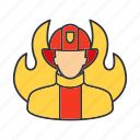 fire, firefighter, firefighting, fireman, flame, occupation, profession icon