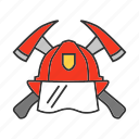 axe, fire, firefighter, firefighting, fireman, hatchet, helmet icon