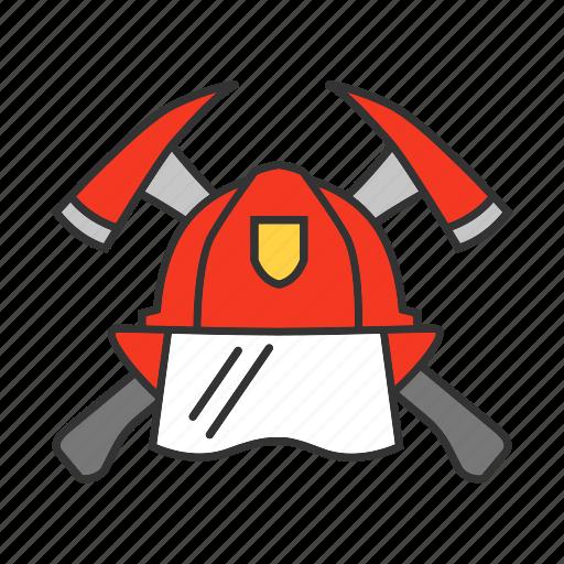 Axe, fire, firefighter, firefighting, fireman, hatchet, helmet icon - Download on Iconfinder