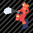 firefighting, burn, fire, flame