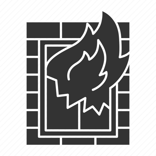 building, emergency, fire, firefighting, flame, house, window icon