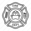 badge, department, emblem, fire, firefighter, fireman, label icon
