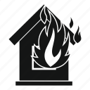 dangerinsurance, disaster, fire, flame, house, outdoor icon