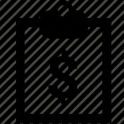 blocknote, dollar, money, note, plan, report, usd icon
