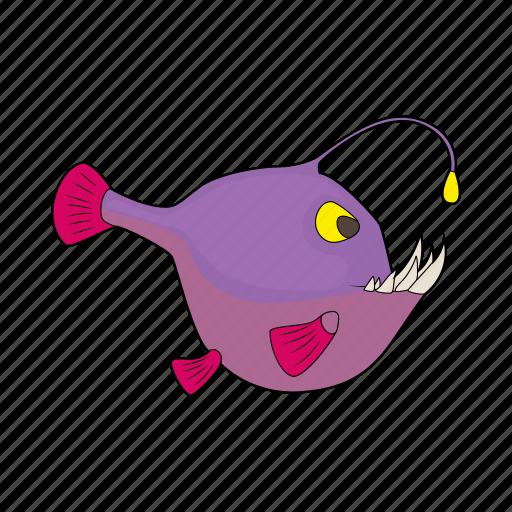 angler, animal, cartoon, fish, predator, sea, teeth icon