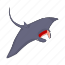 cartoon, fear, fish, predator, sea, stingray, teeth icon