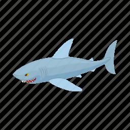 cartoon, fear, fish, predator, sea, shark, teeth icon
