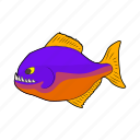 animal, cartoon, fish, nature, predator, sea, teeth icon