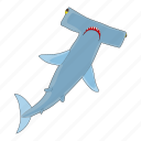 cartoon, fish, hammerhead, jaws, sea, shark, underwater icon