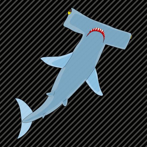 cartoon, fish, hammerhead, jaws, sea, shark, underwater icon