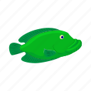 animal, cartoon, fish, green, marine, nature, sea icon