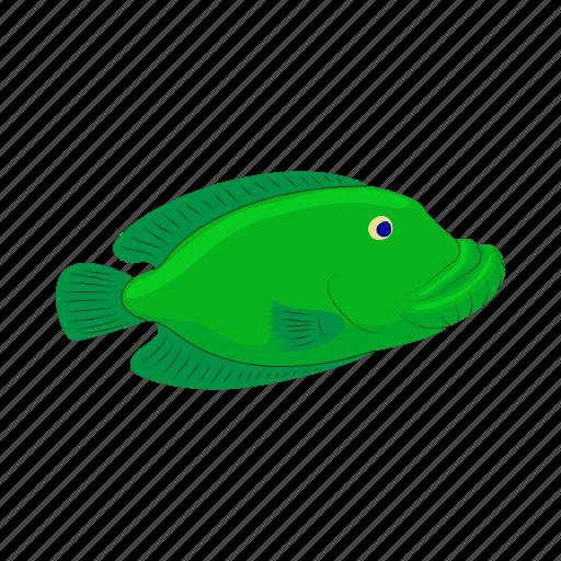 animal, cartoon, fish, green, marine, nature, sea icon