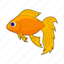 animal, cartoon, fish, gold, goldfish, sea, yellow icon