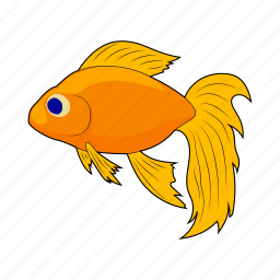 animal, cartoon, fish, gold, goldfish, sea, yellow icon