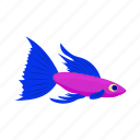 animal, cartoon, fish, nature, pink, purple, sea icon