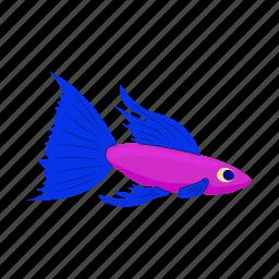 animal, cartoon, fish, nature, pink, purple, sea icon