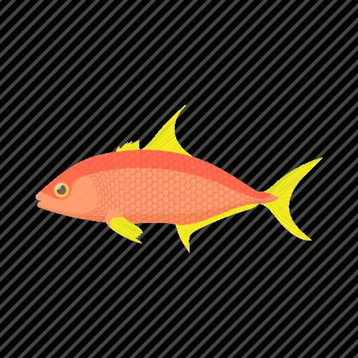 animal, cartoon, fish, orange, tropical, underwater, water icon