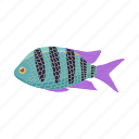 fish, ocean, tropical, sea, striped, marine, cartoon