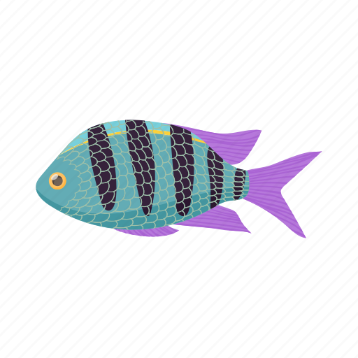 cartoon, fish, marine, ocean, sea, striped, tropical icon