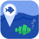 fish, fishing, geo, gps, location icon
