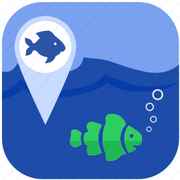 fish, fishing, geo, gps, location icon