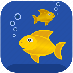 air, breathe, bubbles, fishes, gold icon