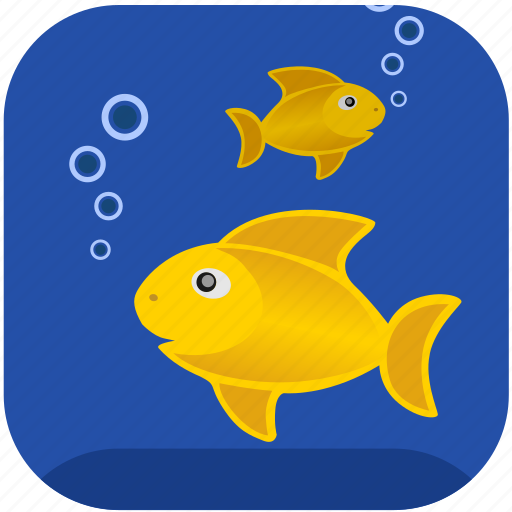 Air, breathe, bubbles, fishes, gold icon - Download on Iconfinder