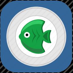 eat, fish, food, green, restoran icon