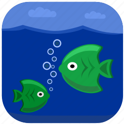 fishes, green, ocean, sea, under, water icon