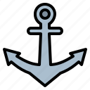 anchor, navy, sail, sailing icon