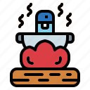 cauldron, cook, fire, fireplace icon