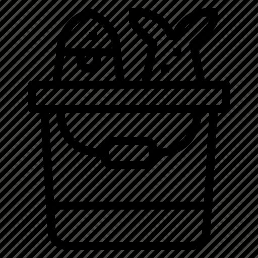 bucket, fish, fishing, pail icon