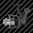 accessory, attribute, equipment. fishing, fishing line, reel, tackle icon