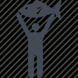 catch, fish, fisherman, fishing icon