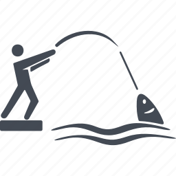 catch, fish, fishing, fishing rod, sea icon