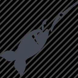 fish, fishing, food, hook, seafood icon