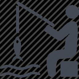 catch, fish, fisherman, fishing, water icon