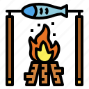 bonfire, fish, fishing, food