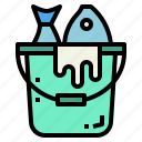 bucket, fish, fishing, pail