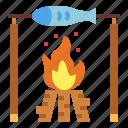 bonfire, fish, fishing, food icon