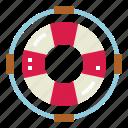 floating, lifebuoy, lifesaver, security icon