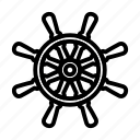 steering, wheel, ship, nautical, editable, lineart, black