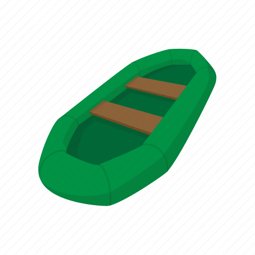 background, boat, cartoon, green, inflatable, raft, rubber icon