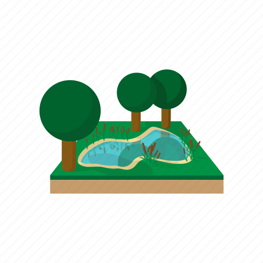 cartoon, fishing, forest, river, rock, tree, water icon