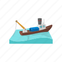 boat, cartoon, fishing, sea, ship, vessel, water